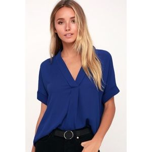Lulu's Rise to the Top Cobalt Short Sleeve Top EUC